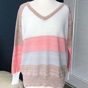 Lightweight V-neck Sweater Top Blouse XL NWOT